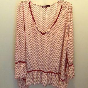 Maroon-print long sleeve blouse